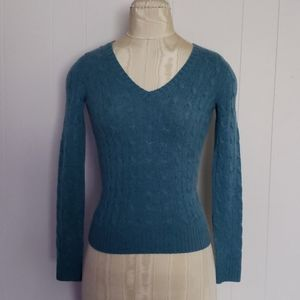 Polo Ralph  Lauren  cable v neck cashmere sweater